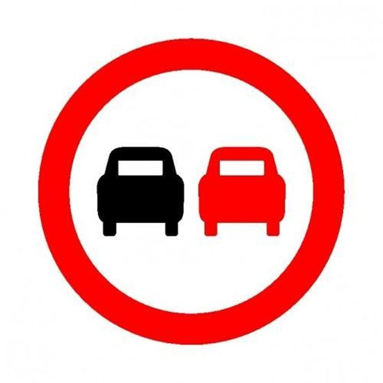 No Over Taking Road Sign