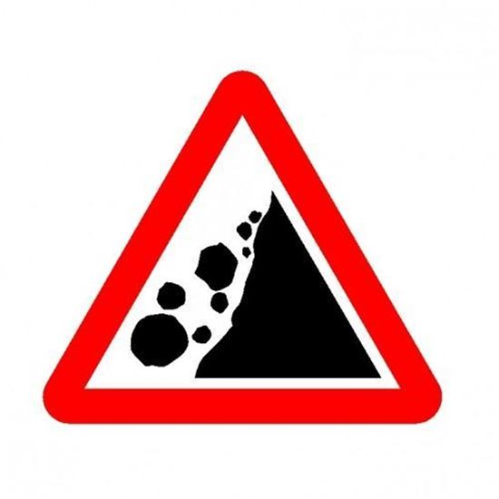 Falling Rocks Right Road Sign