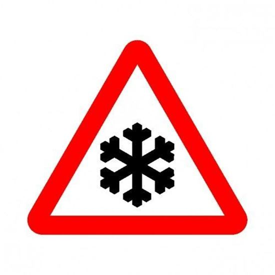 Risk of Snow / Ice Road Sign