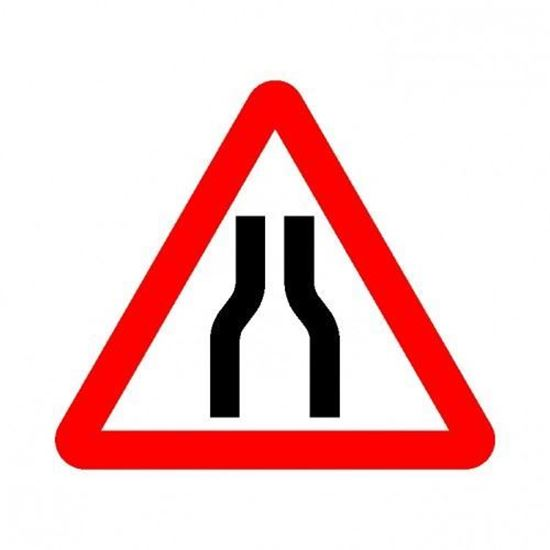 Road Narrows Road Sign
