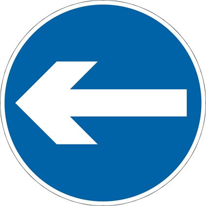 Vehicular traffic must proceed in the direction indicated by the arrow road sign