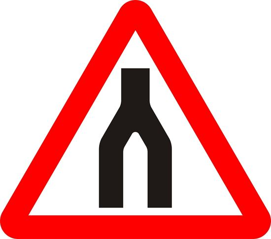 Dual carriageway ends ahead road sign