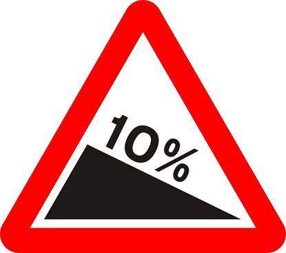 Steep hill downwards ahead road sign