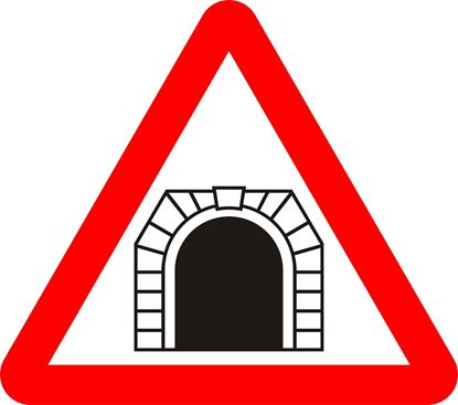 Tunnel ahead road sign