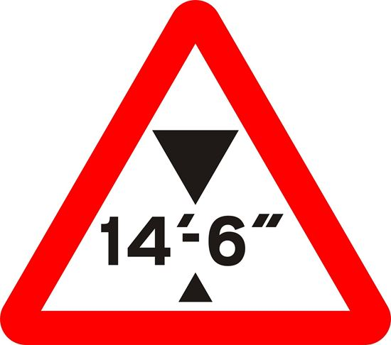 Maximum headroom available at hazard road sign