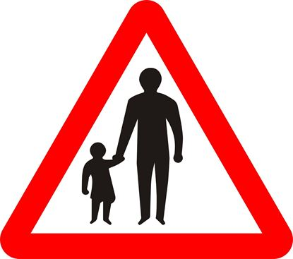 Pedestrians in road ahead road sign