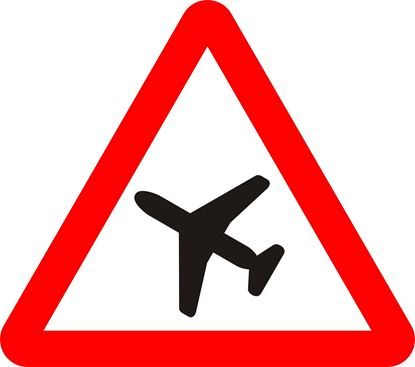 Low flying aircraft or sudden aircraft noise likely ahead road sign