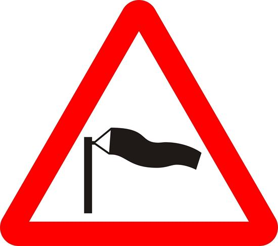 Side winds likely ahead road sign