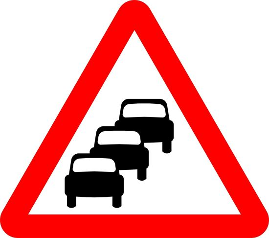Traffic queues likely on road ahead road sign