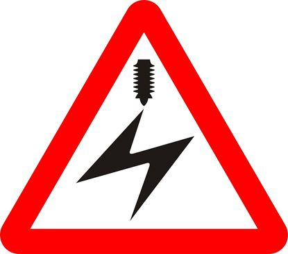 Electrified overhead cable ahead road sign