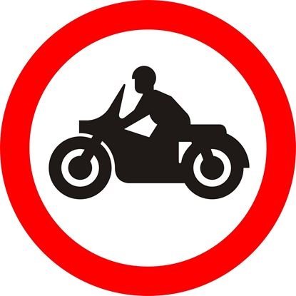 Solo motor cycles prohibited road sign