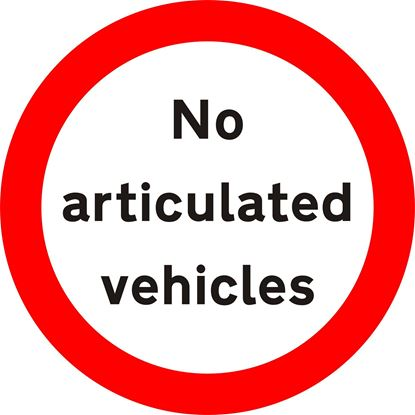 Articulated vehicles prohibited road sign