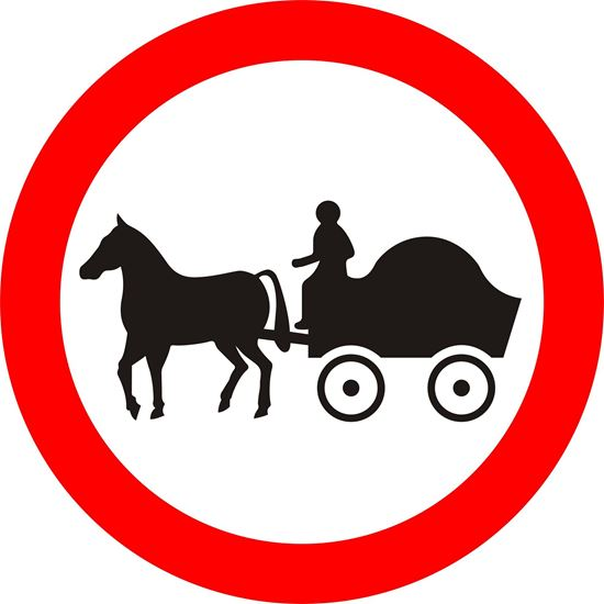 Horse drawn vehicles prohibited road sign