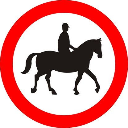 Ridden or accompanied horses prohibited road sign