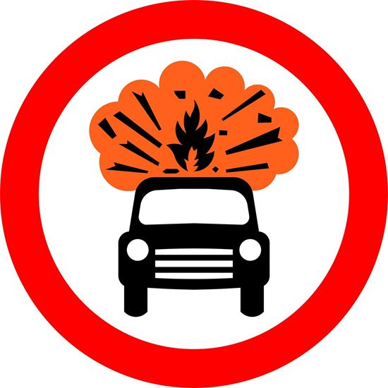 Vehicles carrying explosives prohibited road sign