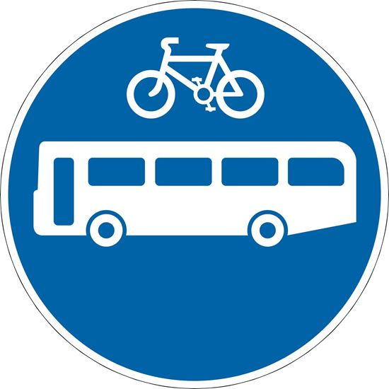 Route for use by buses and pedal cycles only road sign