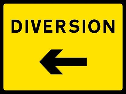 Diversion with left arrow road signs
