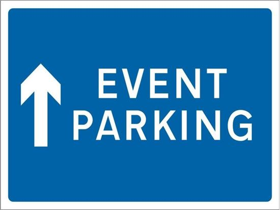 Event Parking with straight ahead arrow road sign