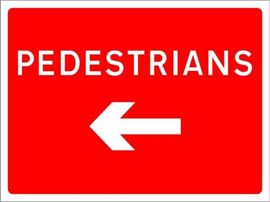 Pedestrians with arrow left road sign