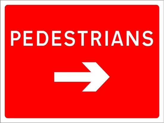 Pedestrians with arrow right road sign