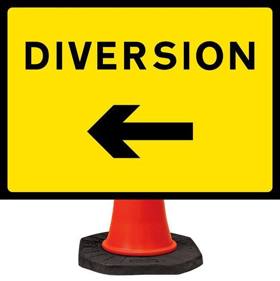 Diversion Ahead Arrow Left road signs