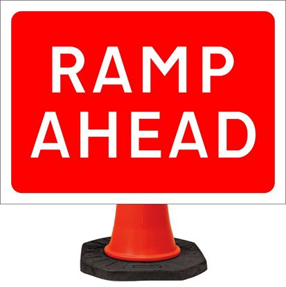 Ramp ahead road signs