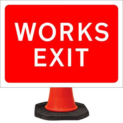 Works exit road signs