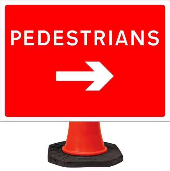 Pedestrians arrow right road signs