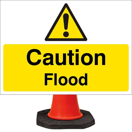Caution flood road signs