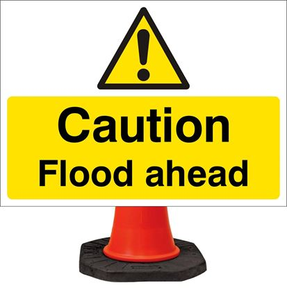 Caution flood ahead road signs