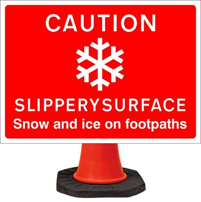 Caution slippery surface snow/ice on footpaths road signs